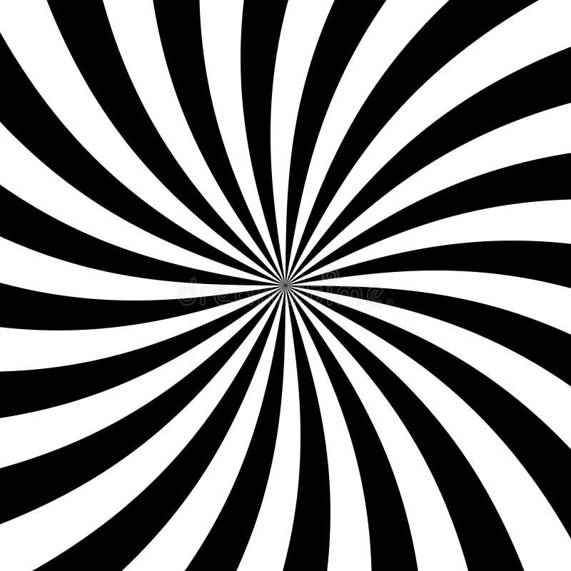 La parte radiale in bianco e nero rays il fondo Raggi che divergono dal centro in una spirale illustrazione vettoriale