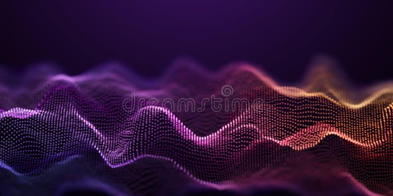 La particella variopinta ondeggia il fondo della tecnologia illustrazione vettoriale