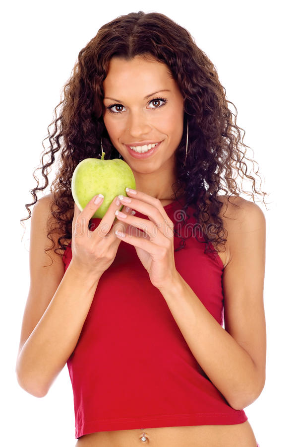 La participation de femme greeen la pomme photo stock