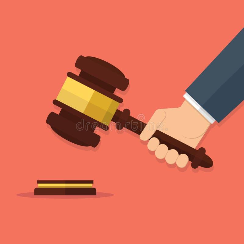 La participation de main juge le marteau illustration libre de droits