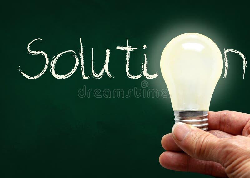 La participation de main l'ampoule avec la solution sur le panneau de craie et l'espace de copie photographie stock libre de droits