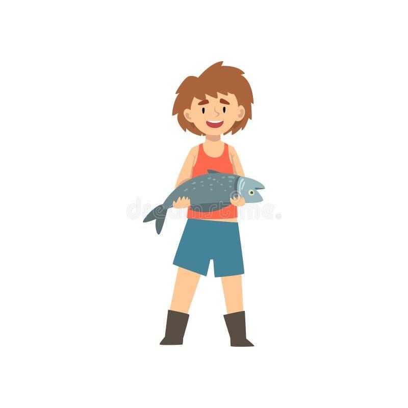 La participation mignonne de garçon a pêché des poissons, petite illustration de Cartoon Character Vector de pêcheur illustration libre de droits