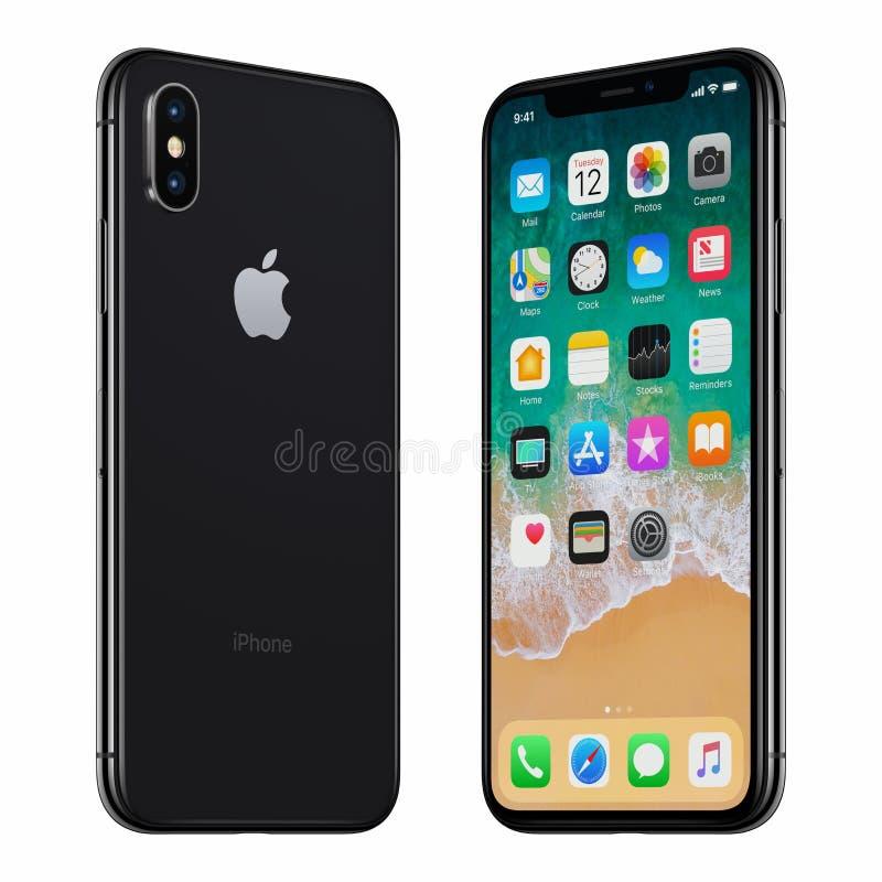 La partie antérieure de l'iPhone X noir d'Apple et l'arrière ont tourné vers l'un l'autre photographie stock