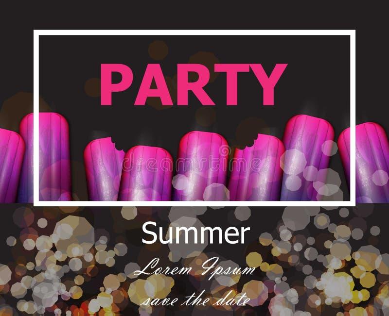 La partie d'été avec le ultra-violet crème le vecteur Cartes modernes de partie illustration stock