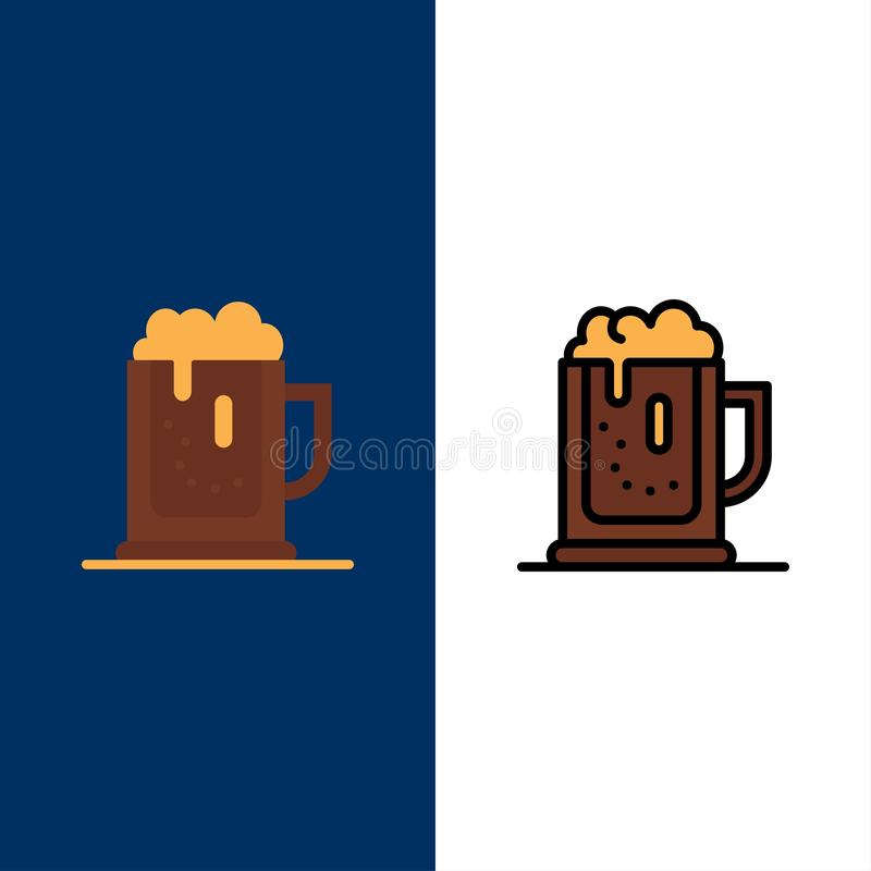 La partie d'alcool, bière, célèbrent, boivent, cognent des icônes L'appartement et la ligne icône remplie ont placé le fond bleu  illustration libre de droits