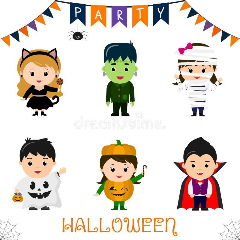La partie de Halloween badine le jeu de caractères Les enfants dans un Halloween coloré costume un chat noir, un monstre, une mam illustration stock