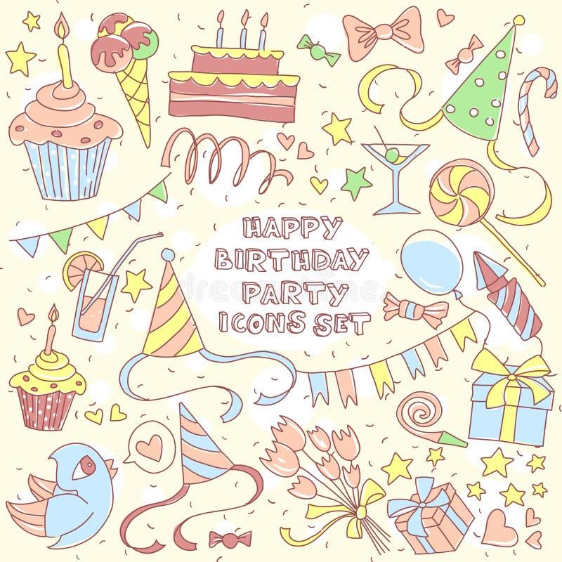 La partie de joyeux anniversaire a placé avec les icônes et le lettrage tirés par la main, gi illustration libre de droits