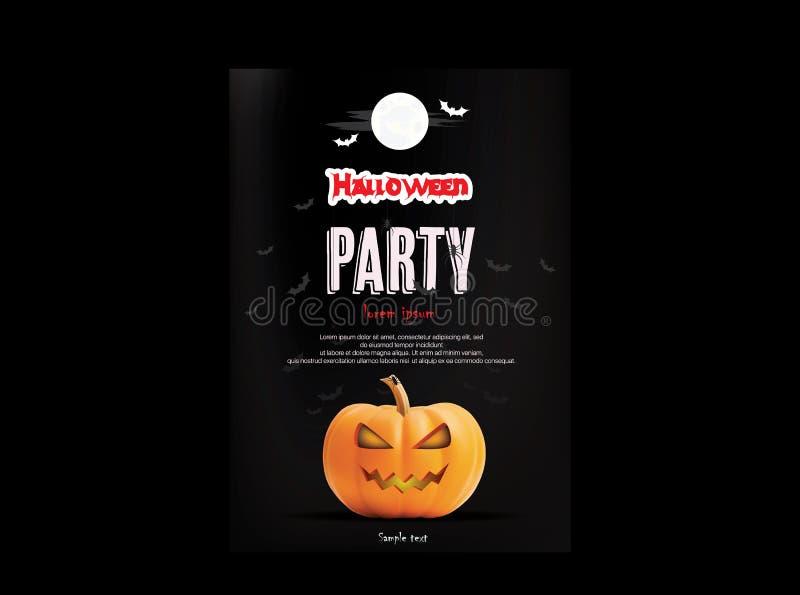 La partie de nuit de Halloween avec les potirons effrayants conçoivent le fond pour l'insecte ou la bannière d'affiche de carte d illustration stock
