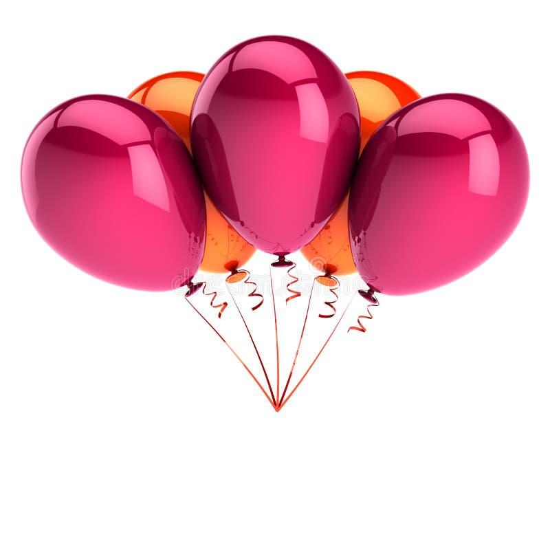 La partie du joyeux anniversaire 5 de l'orange cinq de ballons de rose monte en ballon illustration de vecteur