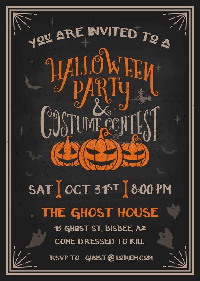La partie et le costume de Halloween de typographie contestent la carte d'invitation illustration de vecteur