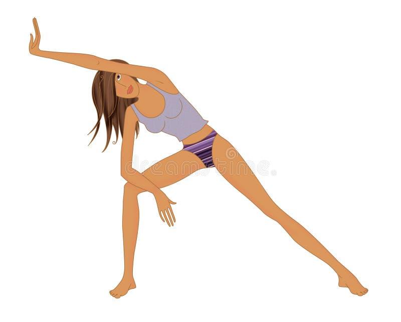 La partie latérale d'exercice de Bodyflex s'étendant, fille exécute le système s'étendant latéral de Bodyflex d'exercice illustration stock