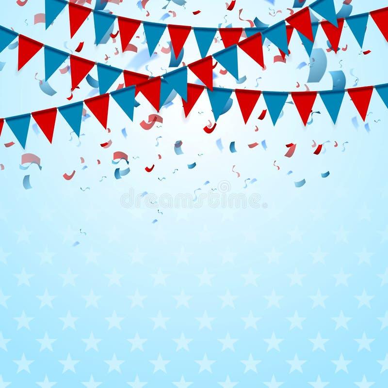 La partie marque le fond abstrait des Etats-Unis avec des confettis illustration stock