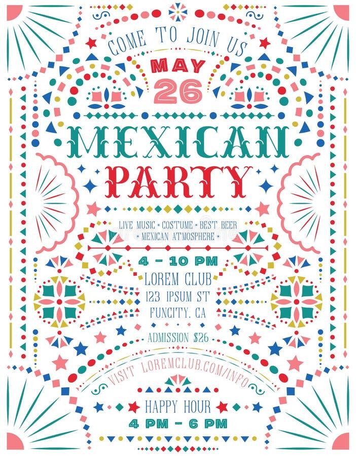 La partie mexicaine annoncent le calibre d'affiche avec les éléments décoratifs nationaux mexicains illustration de vecteur