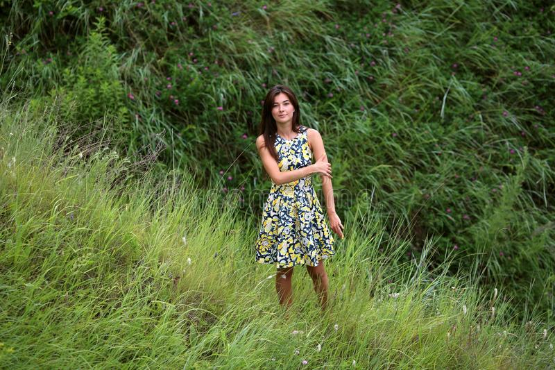 La passeggiata dell'estate su un burrone verde, una giovane ragazza graziosa esile con capelli marroni lunghi nelle prendisole gi immagine stock