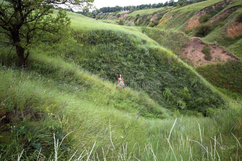 La passeggiata dell'estate su un burrone verde, una giovane ragazza graziosa esile con capelli marroni lunghi nelle prendisole gi fotografia stock libera da diritti