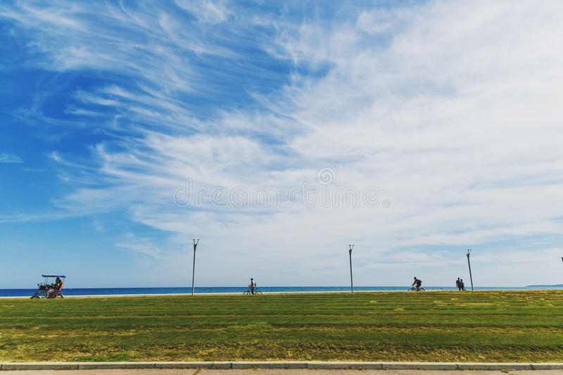 La passeggiata della spiaggia in Cagnes-sur-MER immagine stock