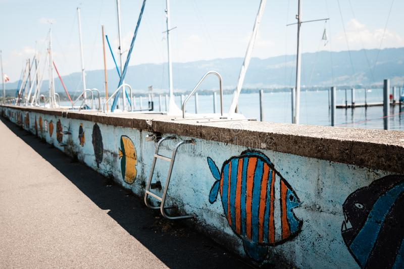 La passeggiata lungo il lago di Costanza ha dipinto con il pesce variopinto Bodensee immagini stock
