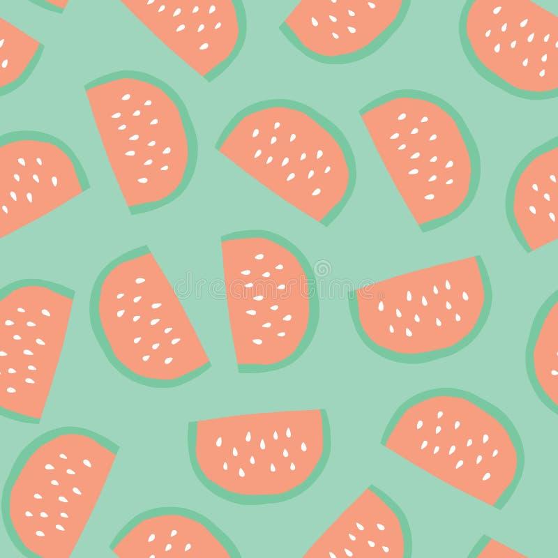 La pastèque découpe le modèle en tranches Dirigez le fond sans couture avec les fruits illustrés d'isolement sur le vert Illustra illustration de vecteur