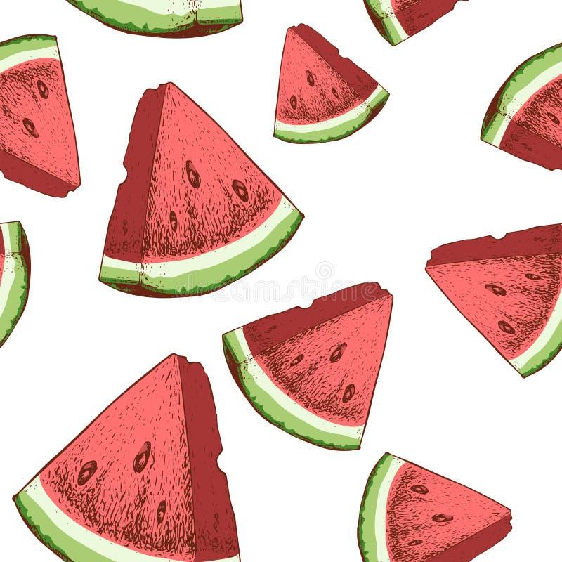 La pastèque découpe le modèle en tranches sans couture L'été mûr de style tiré par la main de croquis porte des fruits illustrati illustration libre de droits