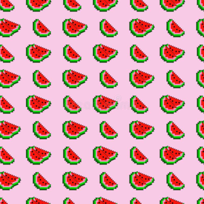 La pastèque de pixel découpe le fond en tranches sans couture de modèle de vecteur illustration de vecteur
