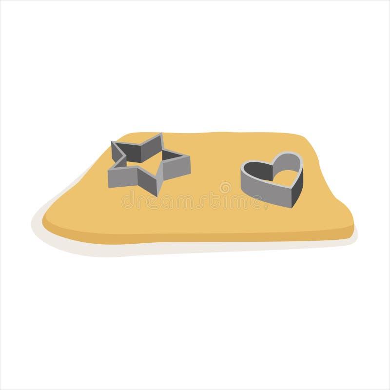 La pasta cruda para las galletas y los cortadores de la galleta vector el ejemplo libre illustration