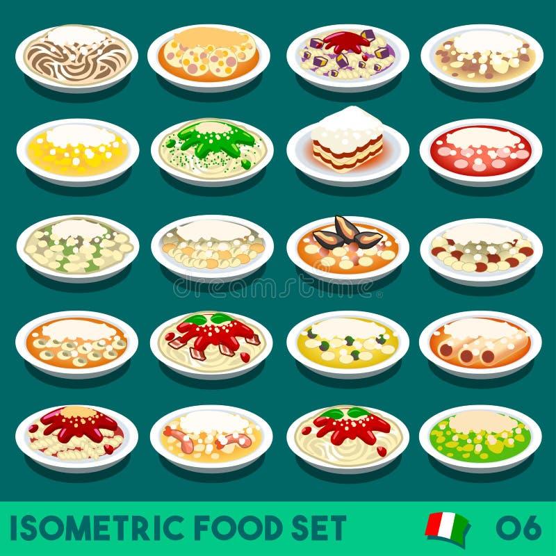 La pasta ha messo l'alimento 06 isometrico illustrazione vettoriale