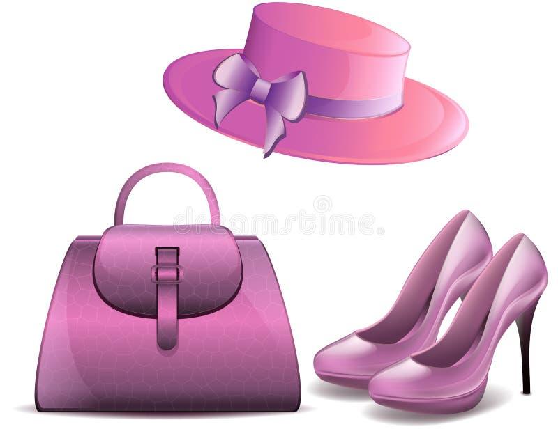 La patente blanca para mujer del fondo del vector de los zapatos y de los accesorios del monedero del vintage del sombrero forma  ilustración del vector