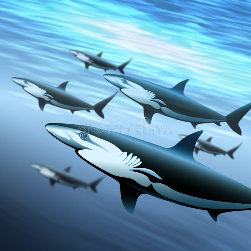 La patrulla de los tiburones stock de ilustración