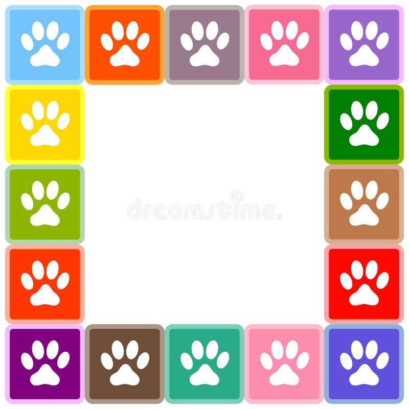 La patte animale multicolore imprime la frontière illustration de vecteur