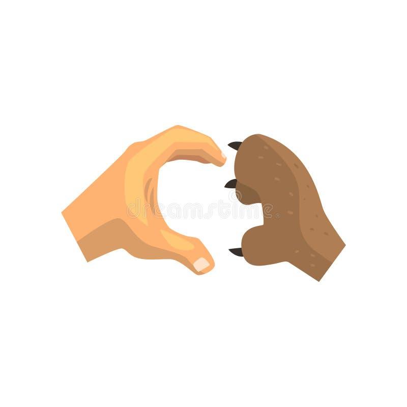 La patte humaine de main et de chien faisant le coeur font des gestes, des amis pour toujours, s'exerçant, illustration vétérinai illustration stock