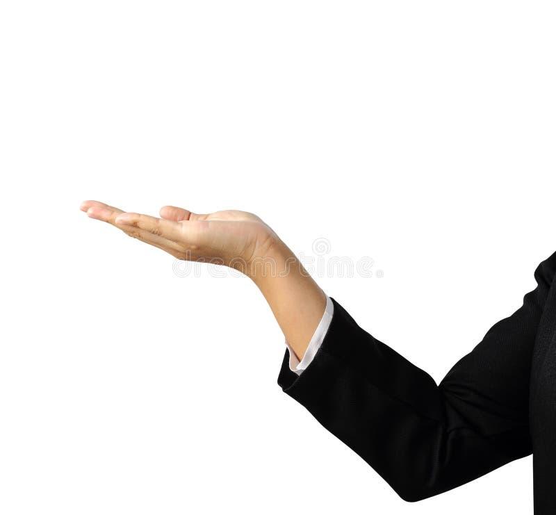 La paume de main du ` s de femme d'affaires a isolé le chemin de coupure images stock