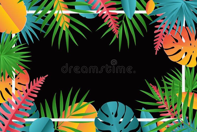 La paume de papier tropicale, monstera part du cadre illustration de vecteur