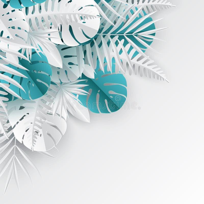 La paume de papier tropicale, monstera part du cadre Feuille tropicale d'été illustration libre de droits