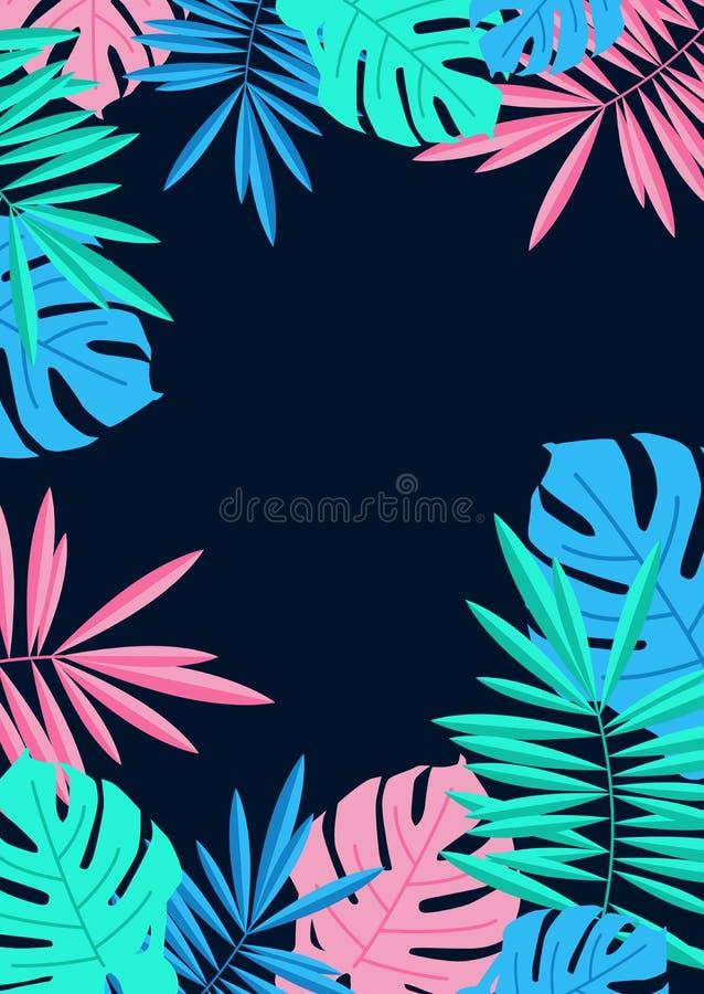 La paume et le monstera tropicaux d'été laisse la frontière sur le Ba bleu de nuit illustration libre de droits
