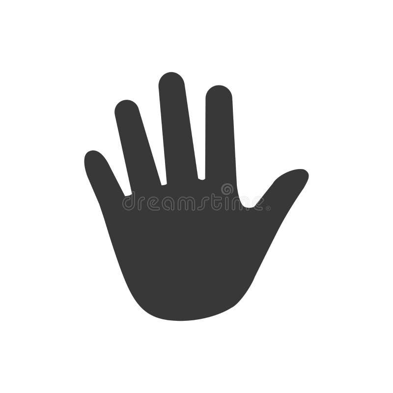 La paume, vecteur d'icône de main, a rempli signe plat, pictogramme solide d'isolement sur le blanc, illustration de logo illustration stock