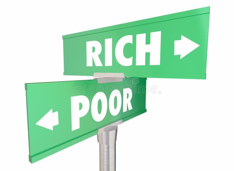 La pauvreté de Rich Vs Poor Wealth Versus signe des mots illustration stock