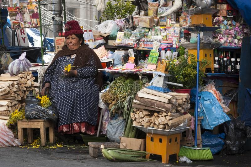 Unidentified street woman vendor selling offerings, souvenirs, mesas for rituals with dried llama fetuses stock photography