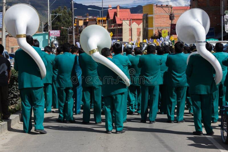 La Paz Bolivia de Mallasa - 2 février 2014 : Fanfare avec le wh photo libre de droits