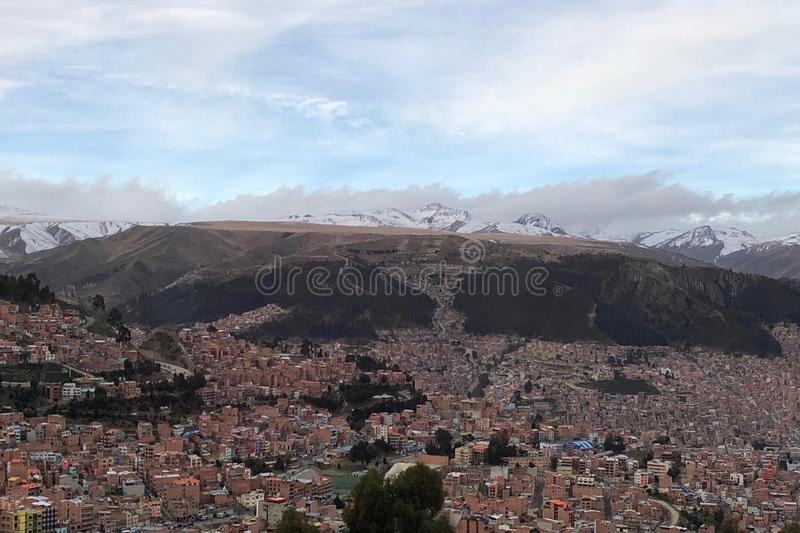La Paz, in Bolivia, is the highest administrative capital in the world, resting on the Andes' Altiplano plateau. La Paz, in Bolivia, South America, is the stock photos