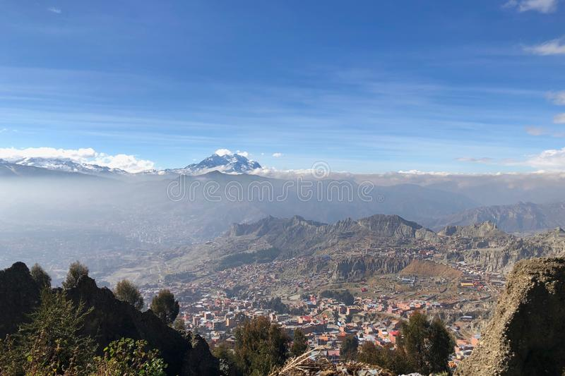 La Paz, in Bolivia, is the highest administrative capital in the world, resting on the Andes' Altiplano plateau. La Paz, in Bolivia, South America, is the royalty free stock images