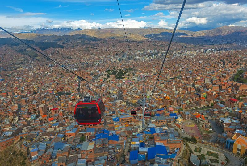 La Paz Cable Car Transportation, Bolivië stock afbeelding
