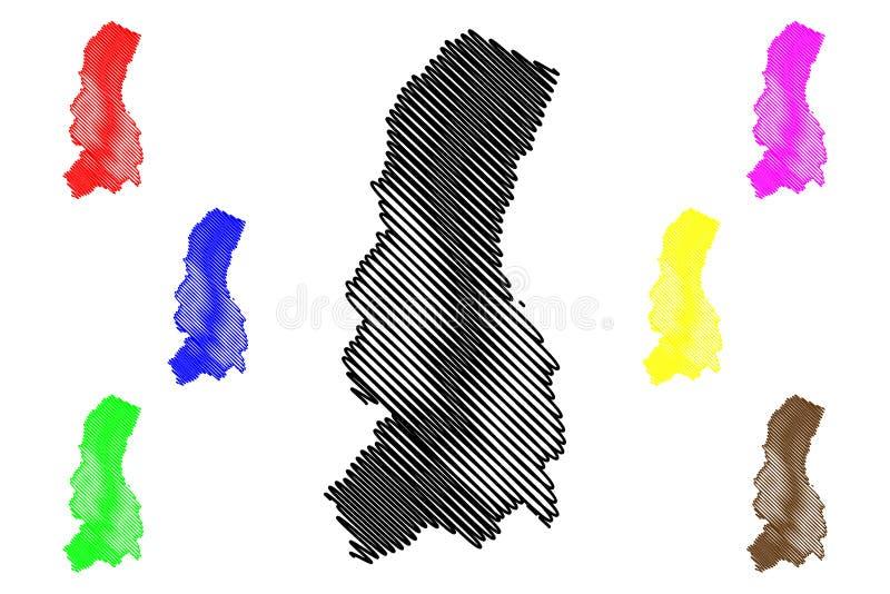La Paz Department Plurinational State von Bolivien, Abteilungen der Bolivien-Kartenvektorillustration, Gekritzelskizze La- Pazkar stock abbildung