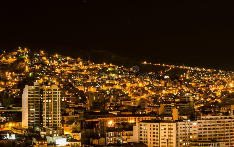 La Paz na noite, Bolívia fotos de stock
