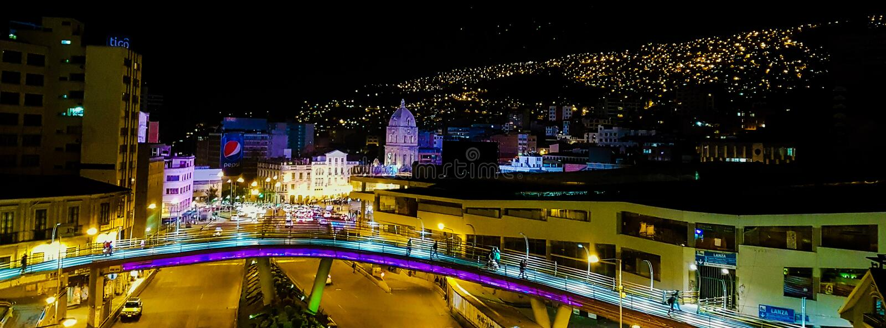 La Paz nachts stockfotografie