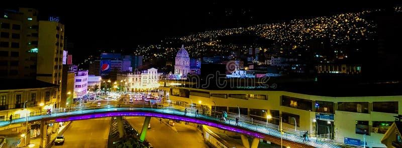 La Paz la nuit photographie stock