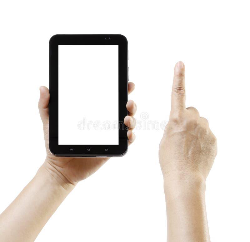 La PC androide de la tableta tiene gusto del ipade con la mano conmovedora con el espacio de la pantalla en blanco para el texto o imagen de archivo libre de regalías
