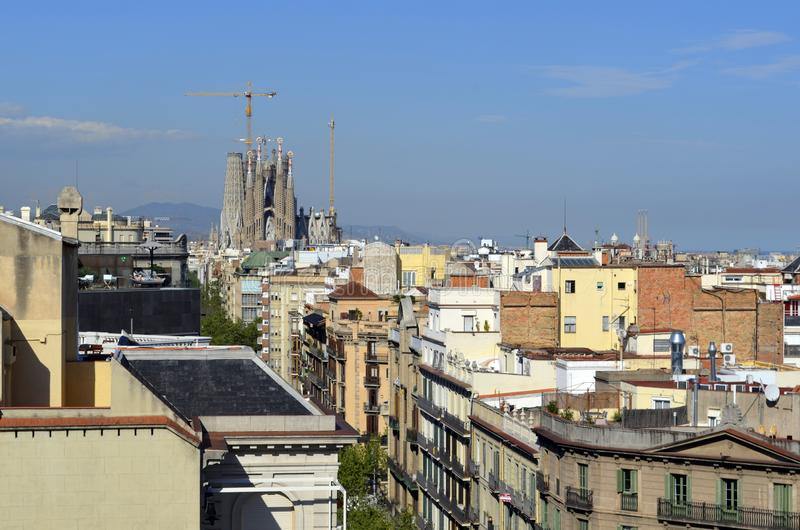 La Pedrera Gaudi`s house rooftop view of Barcelone royalty free stock photo
