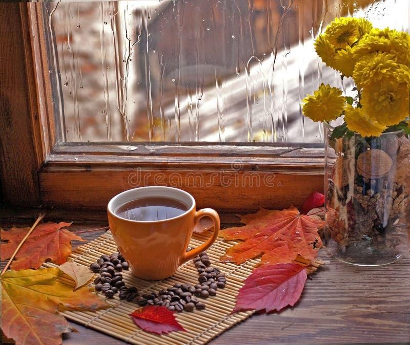 La peine d'automne chauffe le café dans une palette multicolore des feuilles d'automne image stock