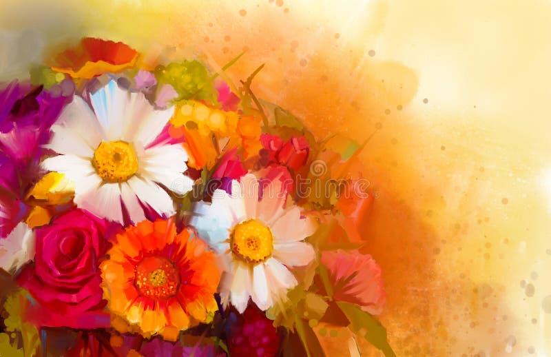 La peinture à l'huile un bouquet de a monté, marguerite et gerbera illustration de vecteur