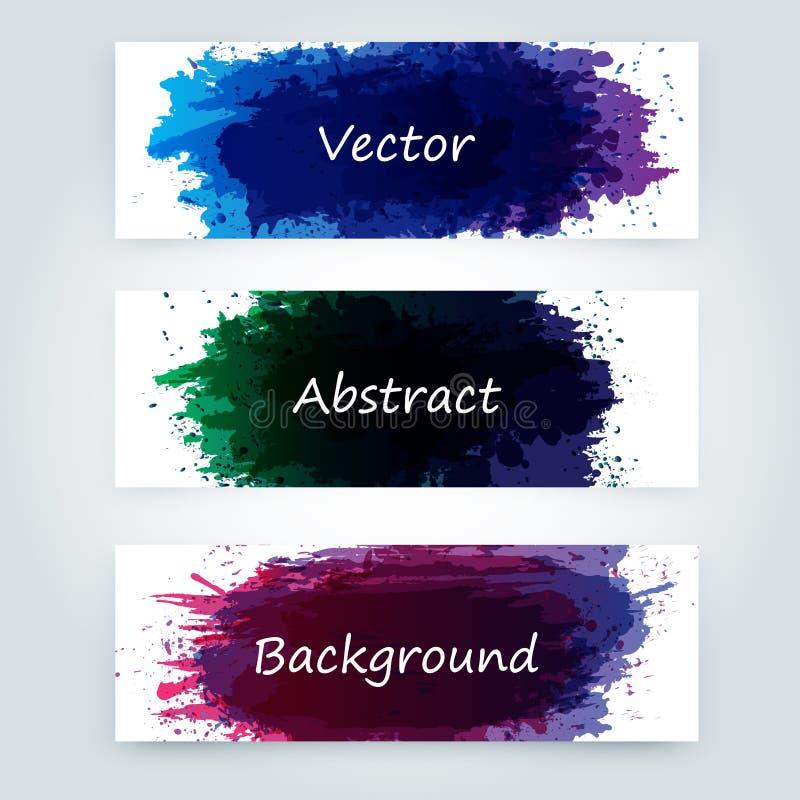 La peinture abstraite éclabousse l'ensemble pour l'usage de conception Ensemble de calibre d'éclaboussure illustration stock